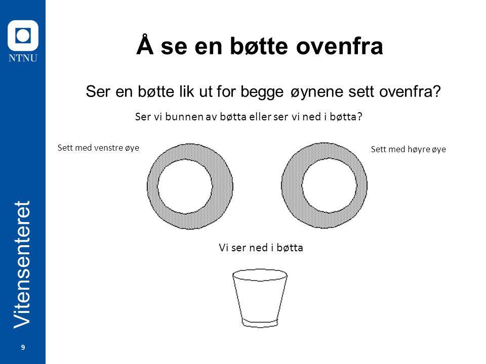 9 Vitensenteret Å se en bøtte ovenfra Ser en bøtte lik ut for begge øynene sett ovenfra.
