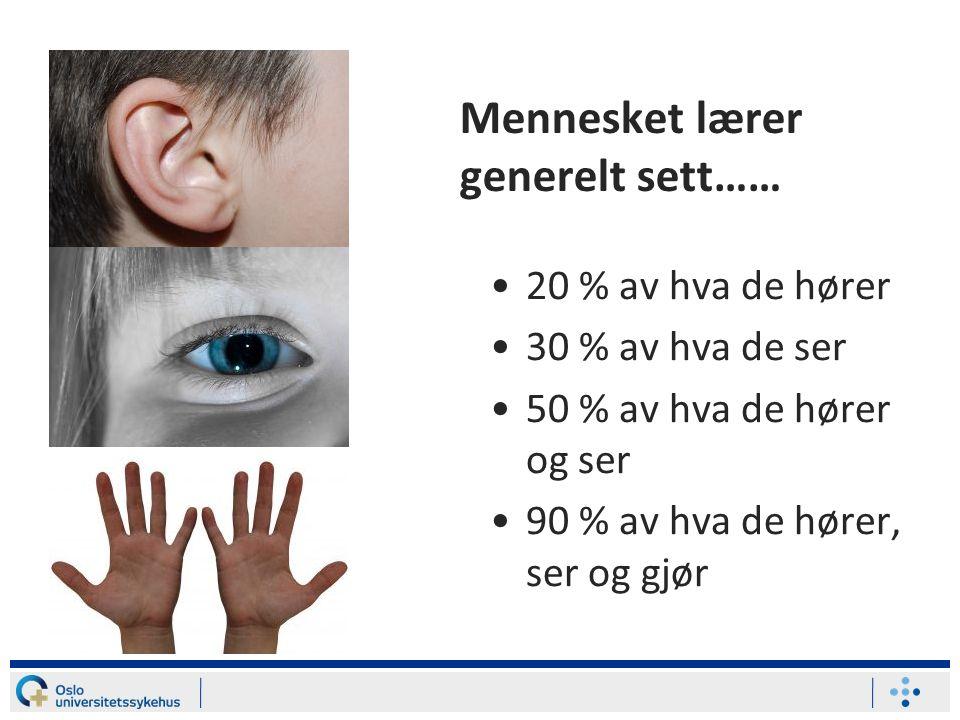 Mennesket lærer generelt sett…… 20 % av hva de hører 30 % av hva de ser 50 % av hva de hører og ser 90 % av hva de hører, ser og gjør