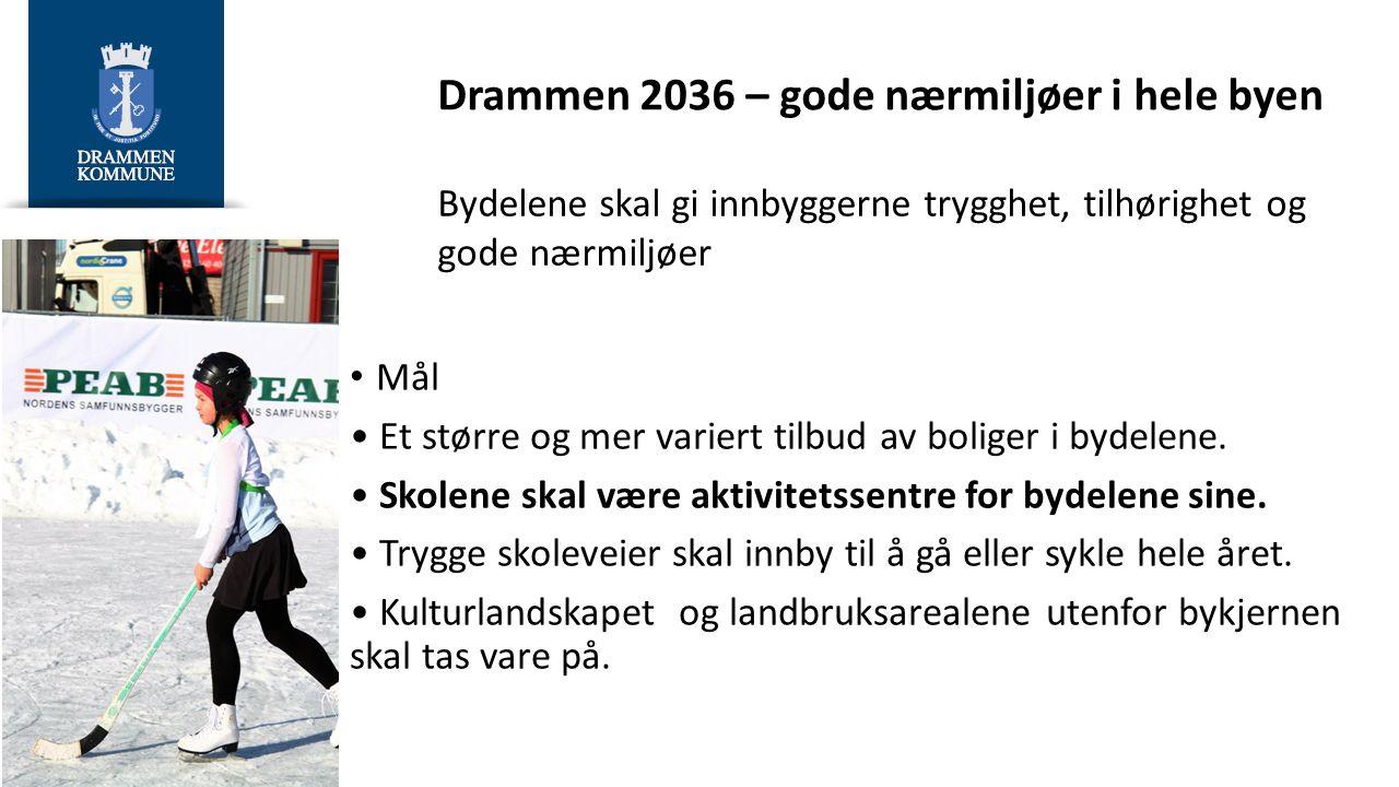 Drammen 2036 - Livskvalitet og mestring Trygge og gode oppvekstsvilkår for barn og unge Mål Folkehelsen i Drammen skal være på nivå med, eller over, sammenlignbare byer.
