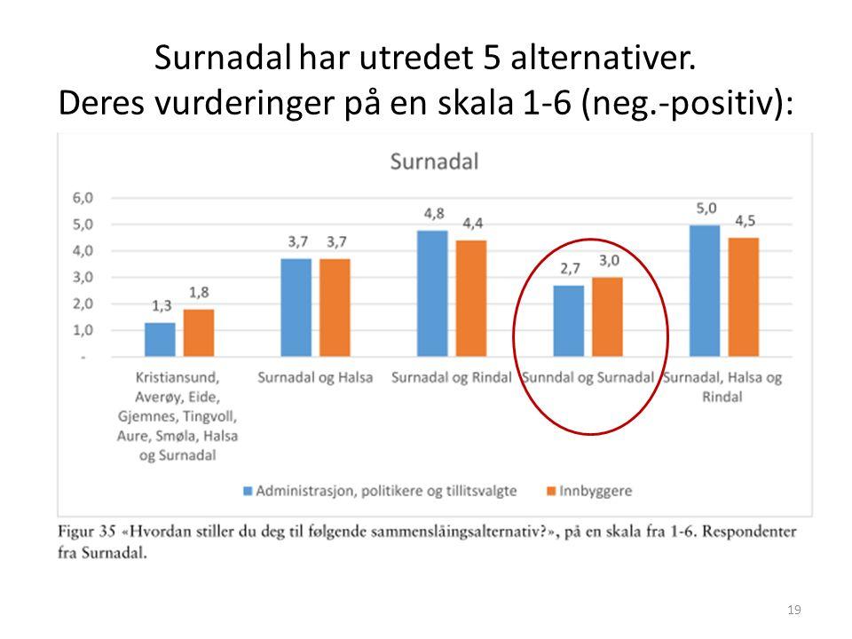 Surnadal har utredet 5 alternativer. Deres vurderinger på en skala 1-6 (neg.-positiv): 19