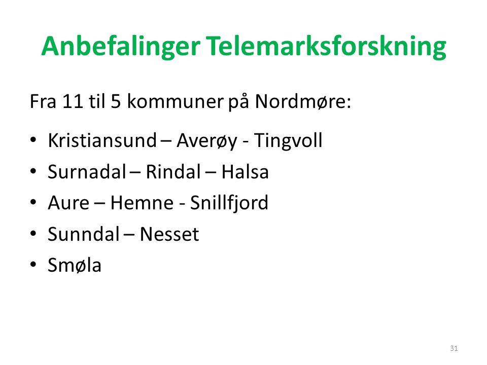 Anbefalinger Telemarksforskning Fra 11 til 5 kommuner på Nordmøre: Kristiansund – Averøy - Tingvoll Surnadal – Rindal – Halsa Aure – Hemne - Snillfjor