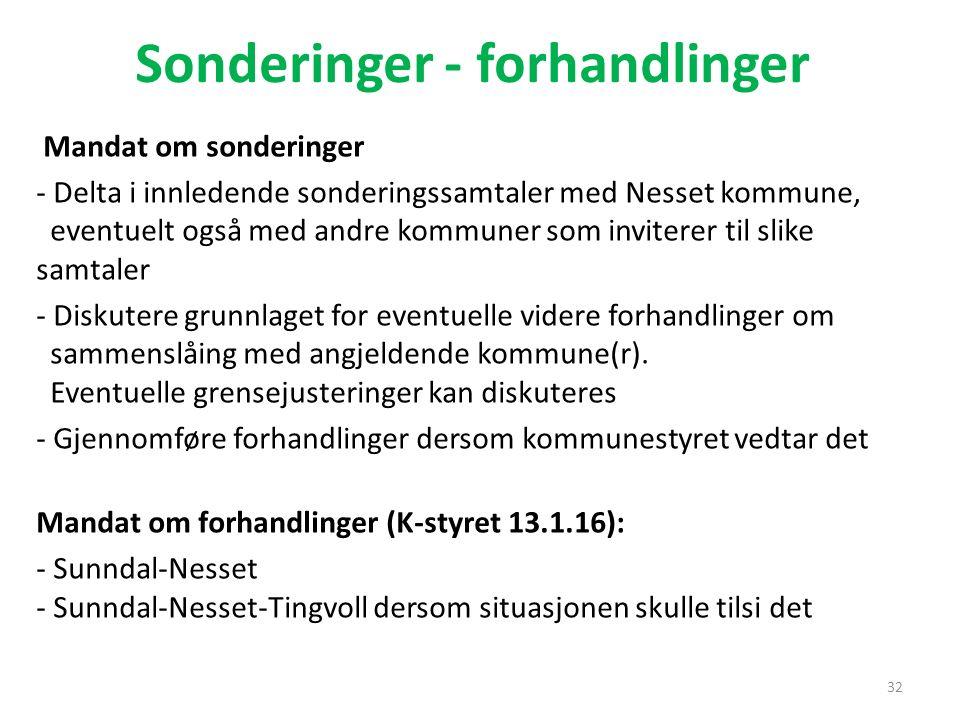 Sonderinger - forhandlinger Mandat om sonderinger - Delta i innledende sonderingssamtaler med Nesset kommune, eventuelt også med andre kommuner som in