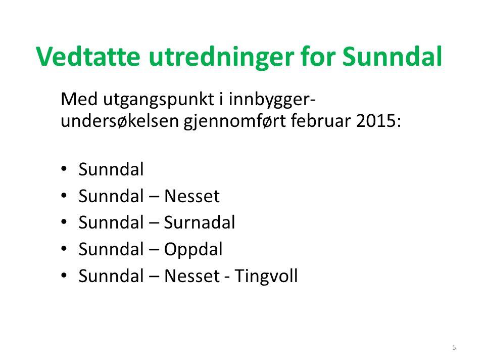 Vedtatte utredninger for Sunndal Med utgangspunkt i innbygger- undersøkelsen gjennomført februar 2015: Sunndal Sunndal – Nesset Sunndal – Surnadal Sun