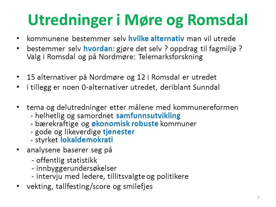 Utredninger i Møre og Romsdal kommunene bestemmer selv hvilke alternativ man vil utrede bestemmer selv hvordan: gjøre det selv ? oppdrag til fagmiljø