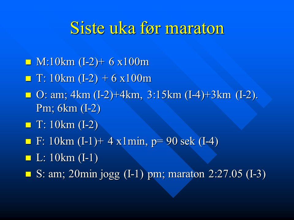 Siste uka før maraton M:10km (I-2)+ 6 x100m M:10km (I-2)+ 6 x100m T: 10km (I-2) + 6 x100m T: 10km (I-2) + 6 x100m O: am; 4km (I-2)+4km, 3:15km (I-4)+3km (I-2).