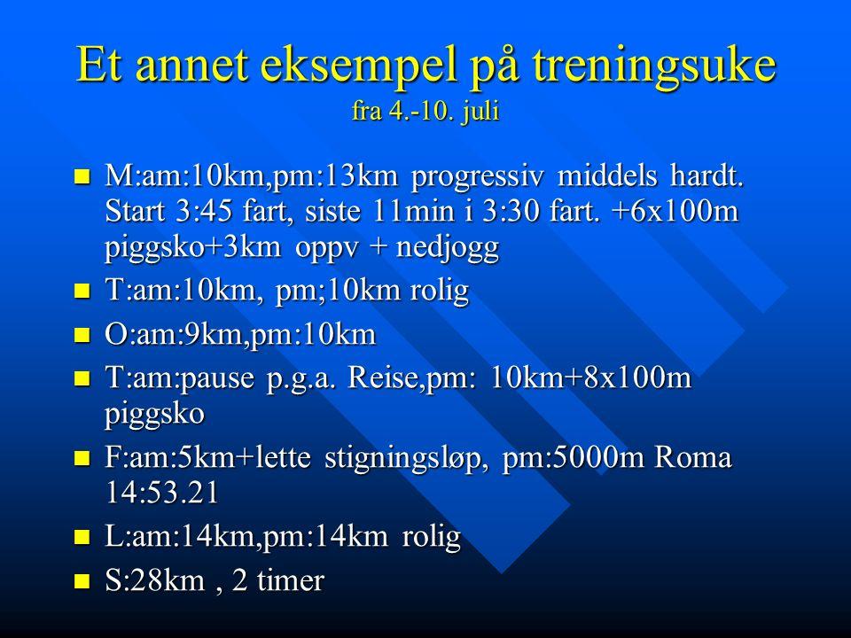 Et annet eksempel på treningsuke fra 4.-10. juli M:am:10km,pm:13km progressiv middels hardt.