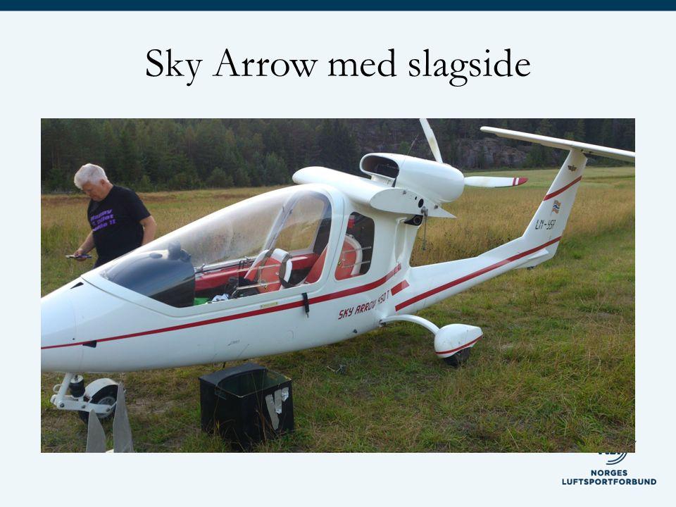 Sky Arrow med slagside