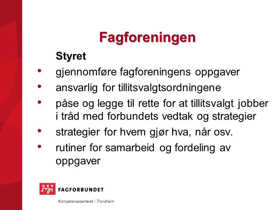 Kompetansesenteret i Trondheim Fagforeningen Styret gjennomføre fagforeningens oppgaver ansvarlig for tillitsvalgtsordningene påse og legge til rette for at tillitsvalgt jobber i tråd med forbundets vedtak og strategier strategier for hvem gjør hva, når osv.