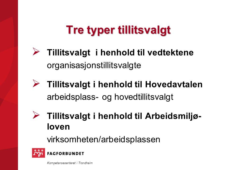Kompetansesenteret i Trondheim Tre typer tillitsvalgt  Tillitsvalgt i henhold til vedtektene organisasjonstillitsvalgte  Tillitsvalgt i henhold til Hovedavtalen arbeidsplass- og hovedtillitsvalgt  Tillitsvalgt i henhold til Arbeidsmiljø- loven virksomheten/arbeidsplassen