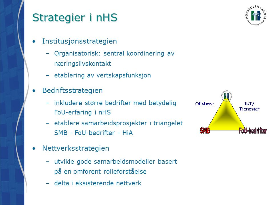 Utvikler ny kunnskap med HiA En av Norges største høgskoler –8300 studenter –100 ulike studier Agder universitet om kort tid HiA deltar på alle nivåer i NODE –HiA lager kurs for næringen, bedriftene tilbyr oppgaver Samarbeid om masterstudium i mekatronikk
