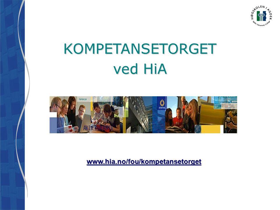 KOMPETANSETORGET ved HiA www.hia.no/fou/kompetansetorget