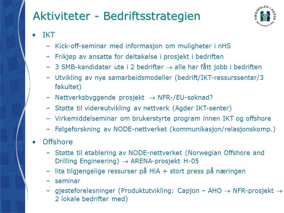 Aktiviteter - Bedriftsstrategien IKT –Kick-off-seminar med informasjon om muligheter i nHS –Frikjøp av ansatte for deltakelse i prosjekt i bedriften –3 SMB-kandidater ute i 2 bedrifter  alle har fått jobb i bedriften –Utvikling av nye samarbeidsmodeller (bedrift/IKT-ressurssenter/3 fakultet) –Nettverksbyggende prosjekt  NFR-/EU-søknad.
