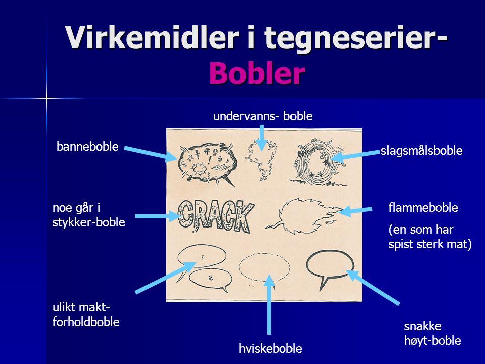 Virkemidler i tegneserier- Bobler banneboble undervanns- boble slagsmålsboble noe går i stykker-boble hviskeboble ulikt makt- forholdboble flammeboble (en som har spist sterk mat) snakke høyt-boble