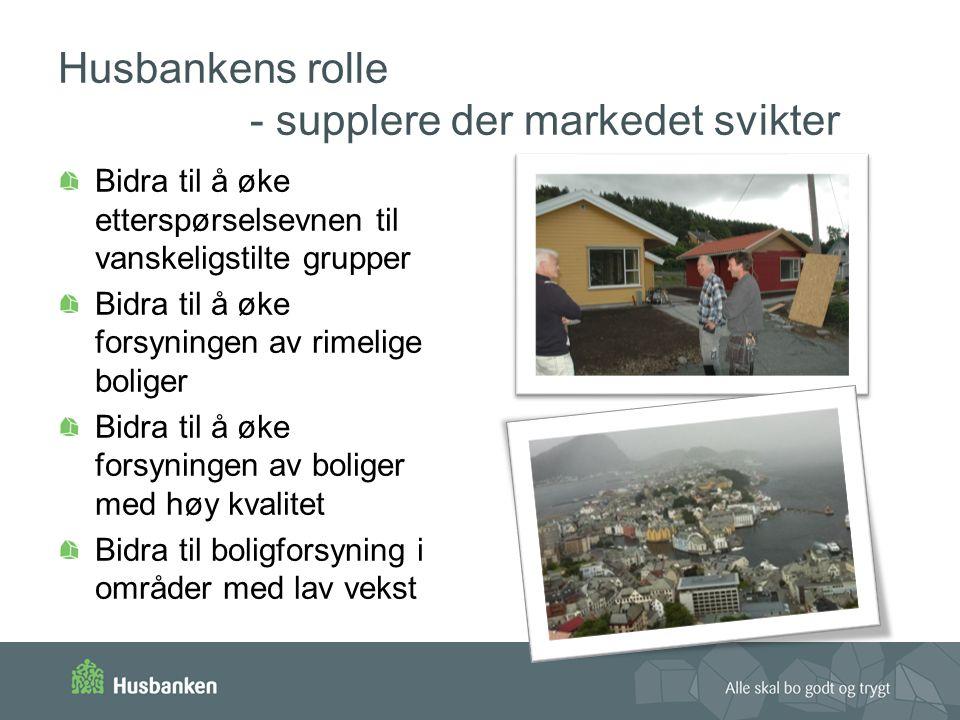 Husbankens rolle - supplere der markedet svikter Bidra til å øke etterspørselsevnen til vanskeligstilte grupper Bidra til å øke forsyningen av rimelige boliger Bidra til å øke forsyningen av boliger med høy kvalitet Bidra til boligforsyning i områder med lav vekst
