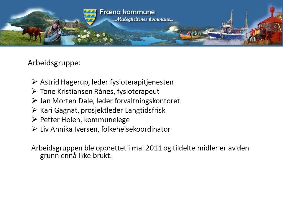 Arbeidsgruppe:  Astrid Hagerup, leder fysioterapitjenesten  Tone Kristiansen Rånes, fysioterapeut  Jan Morten Dale, leder forvaltningskontoret  Ka