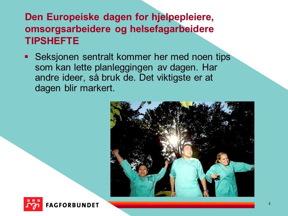 4 Den Europeiske dagen for hjelpepleiere, omsorgsarbeidere og helsefagarbeidere TIPSHEFTE  Seksjonen sentralt kommer her med noen tips som kan lette planleggingen av dagen.