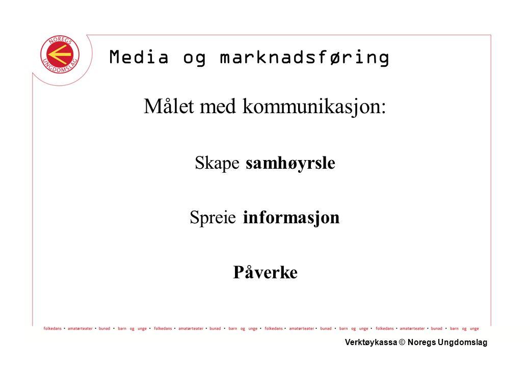Målet med kommunikasjon: Skape samhøyrsle Spreie informasjon Påverke Verktøykassa © Noregs Ungdomslag Media og marknadsføring