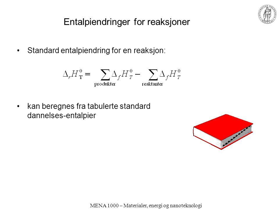 MENA 1000 – Materialer, energi og nanoteknologi Entalpiendringer for reaksjoner Standard entalpiendring for en reaksjon: kan beregnes fra tabulerte standard dannelses-entalpier