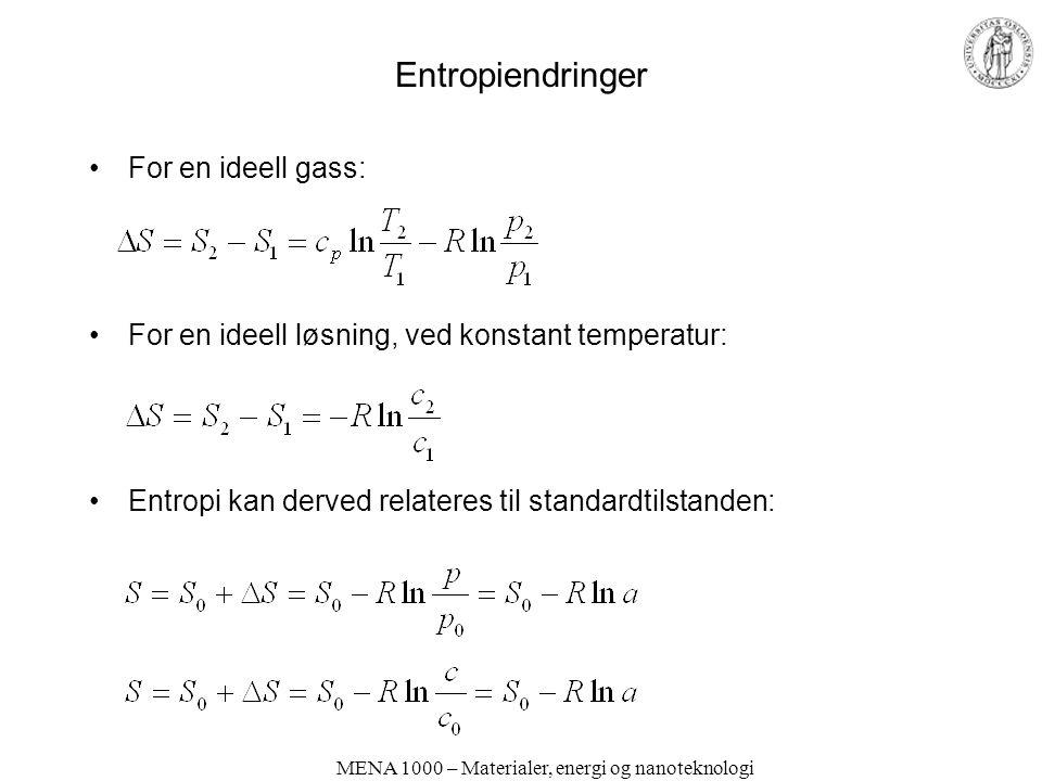 MENA 1000 – Materialer, energi og nanoteknologi Entropiendringer For en ideell gass: For en ideell løsning, ved konstant temperatur: Entropi kan derved relateres til standardtilstanden: