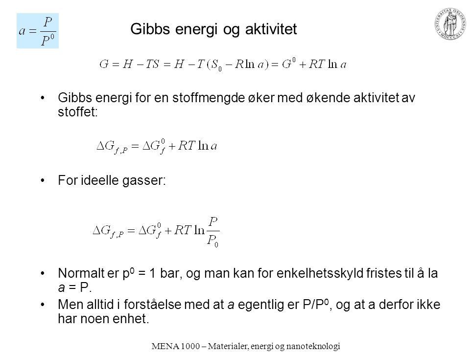MENA 1000 – Materialer, energi og nanoteknologi Gibbs energi og aktivitet Gibbs energi for en stoffmengde øker med økende aktivitet av stoffet: For ideelle gasser: Normalt er p 0 = 1 bar, og man kan for enkelhetsskyld fristes til å la a = P.