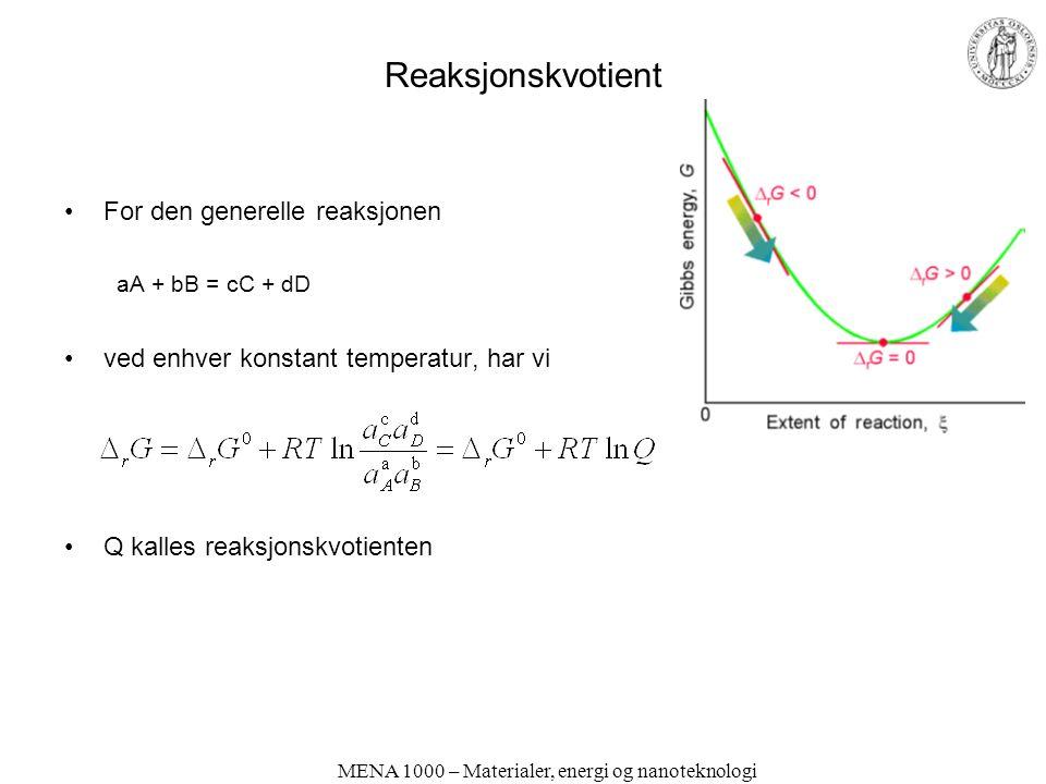 MENA 1000 – Materialer, energi og nanoteknologi Reaksjonskvotient For den generelle reaksjonen aA + bB = cC + dD ved enhver konstant temperatur, har vi Q kalles reaksjonskvotienten
