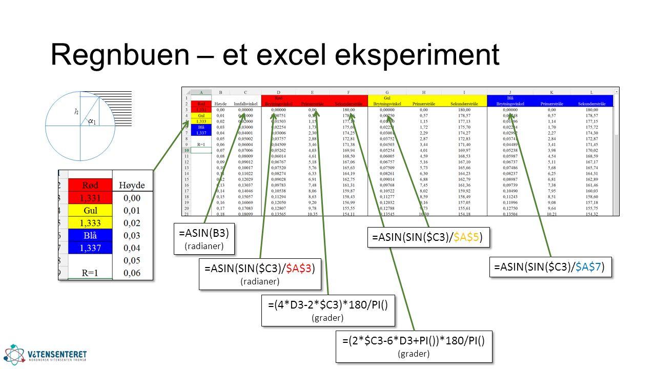 Regnbuen – et excel eksperiment =ASIN(B3) (radianer) =ASIN(B3) (radianer) =ASIN(SIN($C3)/$A$7) =ASIN(SIN($C3)/$A$3) (radianer) =ASIN(SIN($C3)/$A$3) (radianer) =(4*D3-2*$C3)*180/PI() (grader) =(4*D3-2*$C3)*180/PI() (grader) =(2*$C3-6*D3+PI())*180/PI() (grader) =(2*$C3-6*D3+PI())*180/PI() (grader) =ASIN(SIN($C3)/$A$5) 11 h