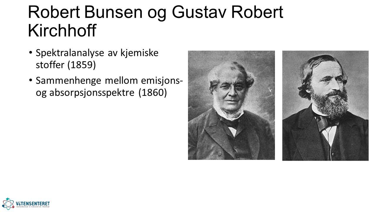 Robert Bunsen og Gustav Robert Kirchhoff Spektralanalyse av kjemiske stoffer (1859) Sammenhenge mellom emisjons- og absorpsjonsspektre (1860)