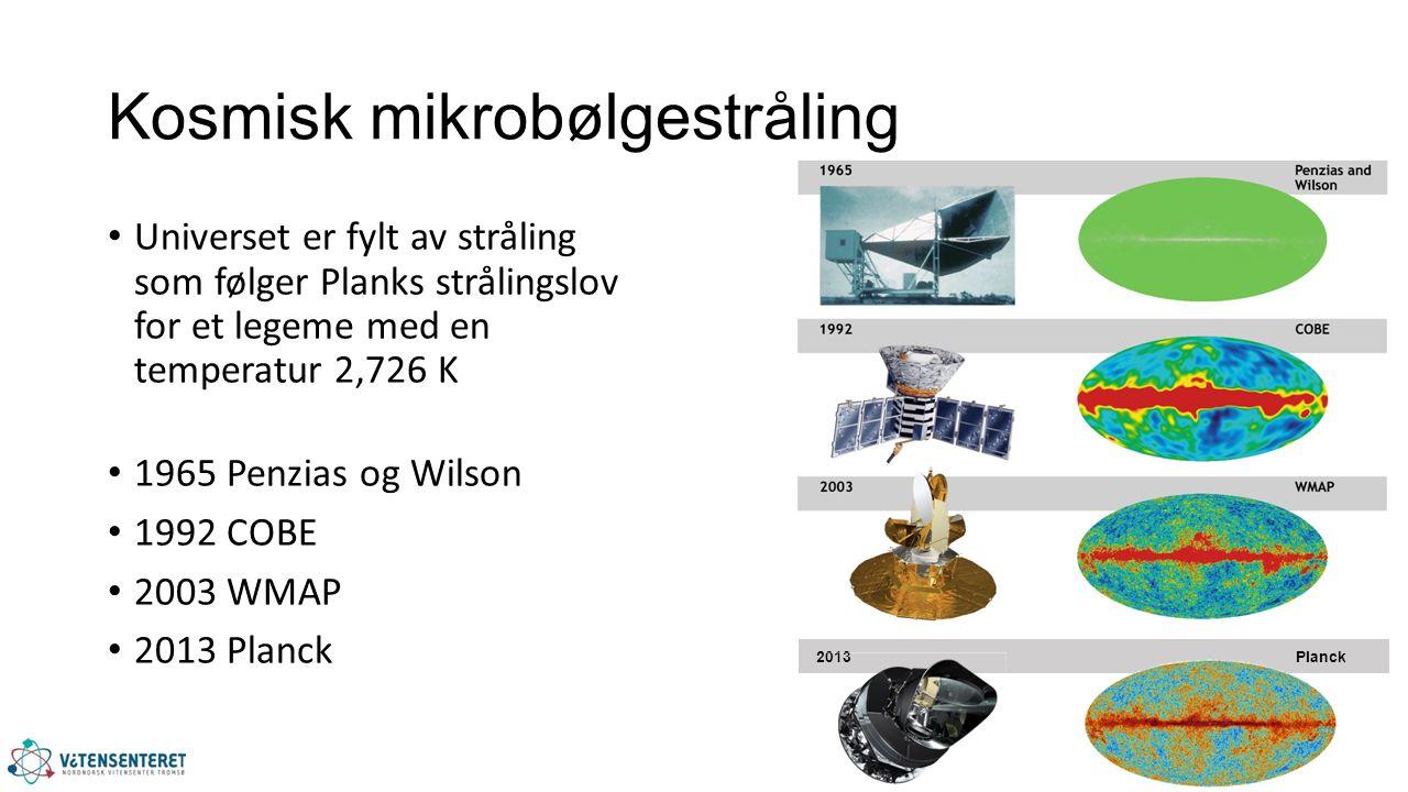 Kosmisk mikrobølgestråling Universet er fylt av stråling som følger Planks strålingslov for et legeme med en temperatur 2,726 K 1965 Penzias og Wilson 1992 COBE 2003 WMAP 2013 Planck