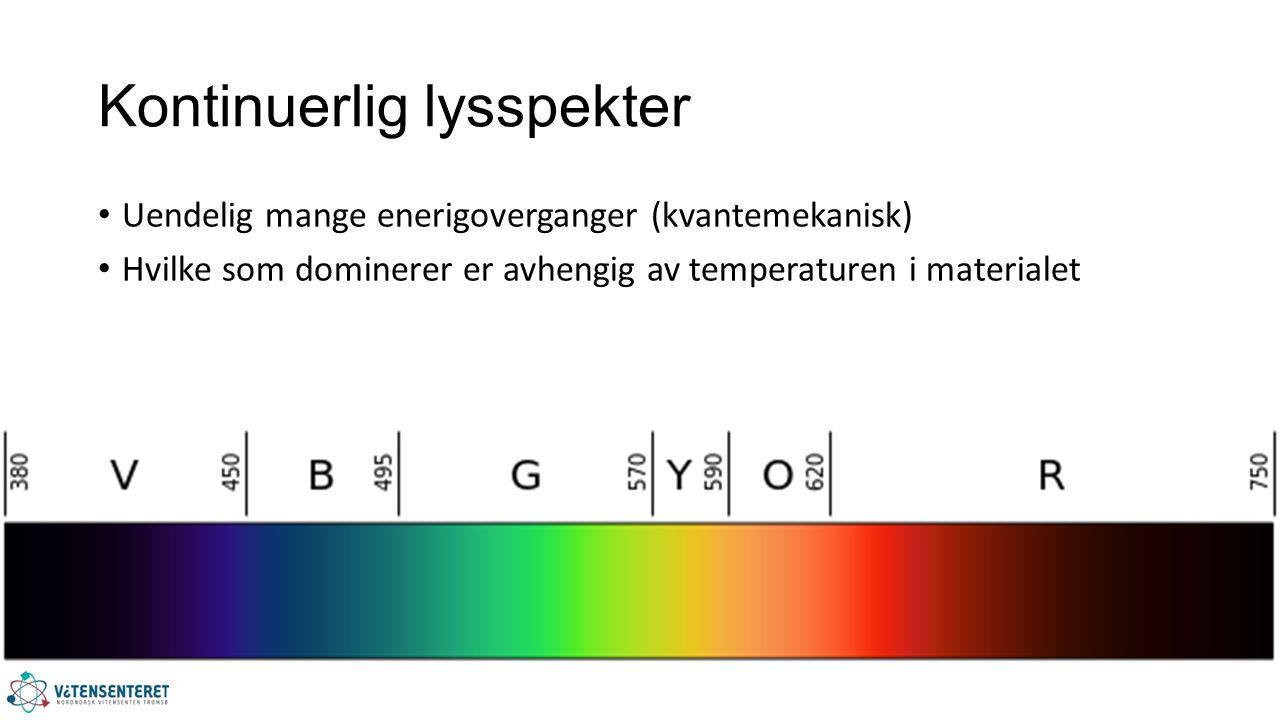 Kontinuerlig lysspekter Uendelig mange enerigoverganger (kvantemekanisk) Hvilke som dominerer er avhengig av temperaturen i materialet