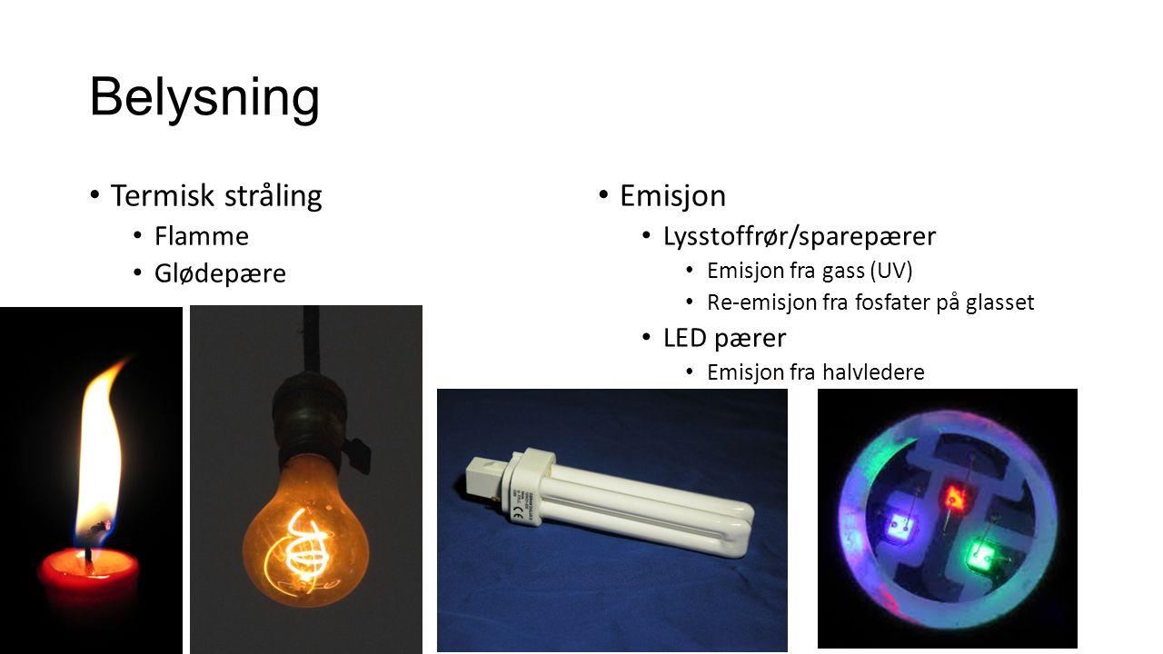 Belysning Termisk stråling Flamme Glødepære Emisjon Lysstoffrør/sparepærer Emisjon fra gass (UV) Re-emisjon fra fosfater på glasset LED pærer Emisjon fra halvledere