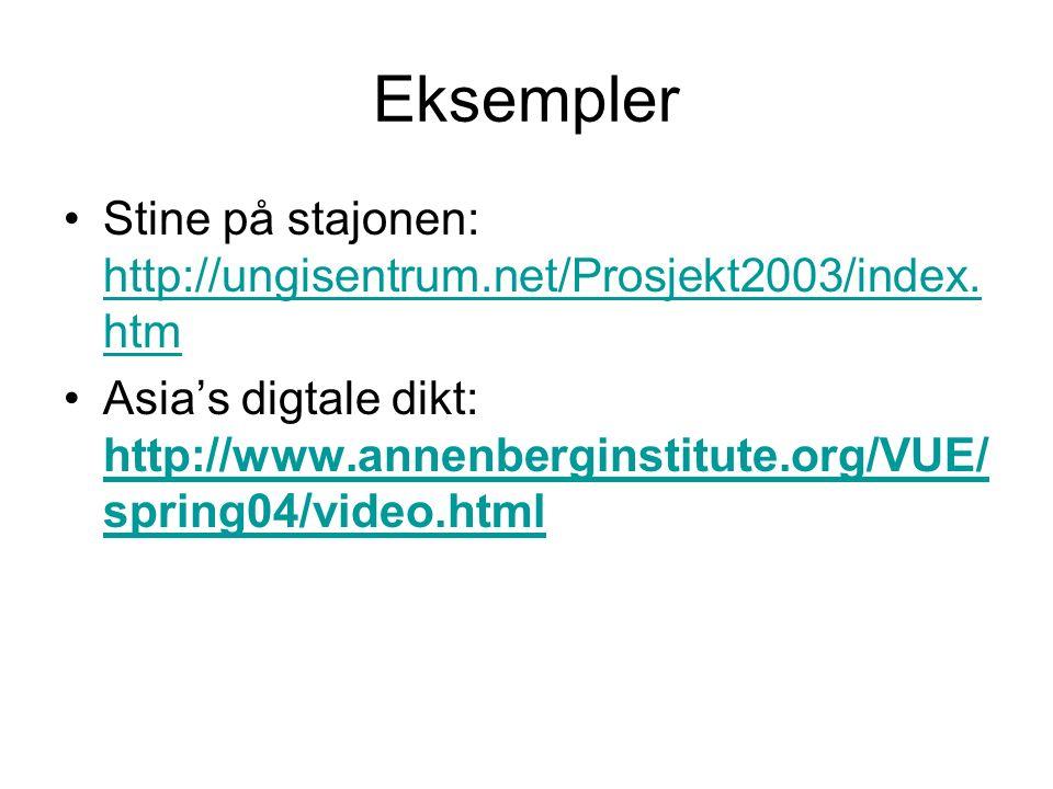 Eksempler Stine på stajonen: http://ungisentrum.net/Prosjekt2003/index.