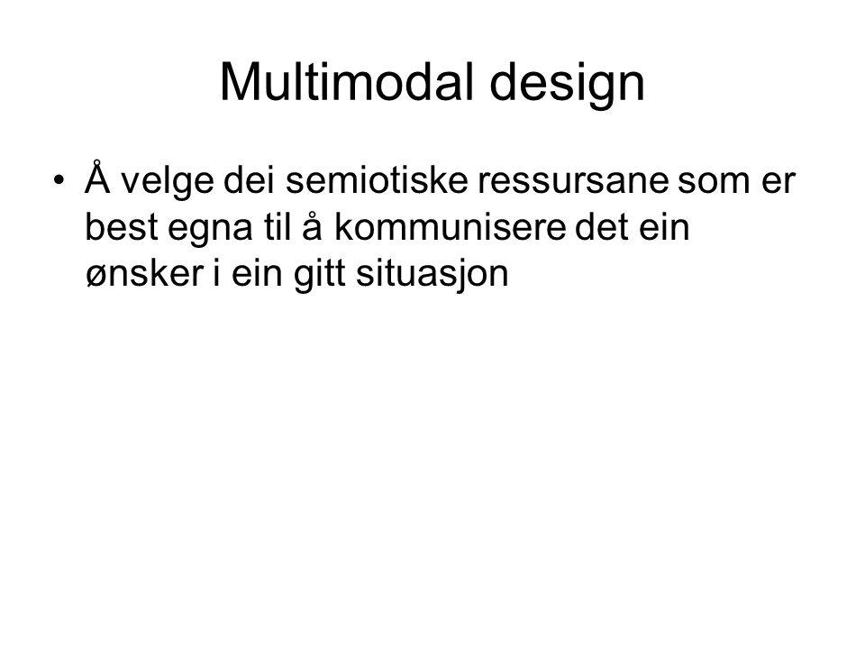 Multimodal design Å velge dei semiotiske ressursane som er best egna til å kommunisere det ein ønsker i ein gitt situasjon