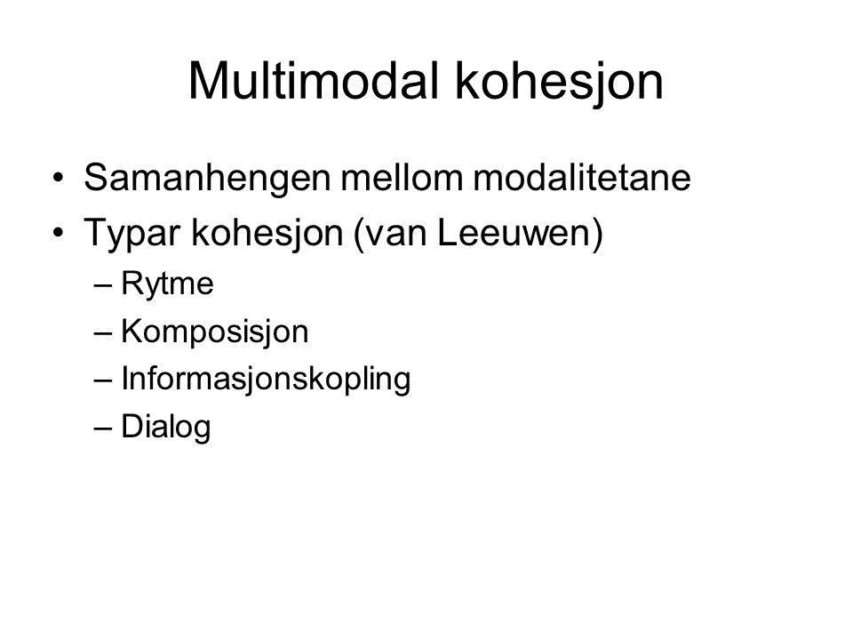 Multimodal kohesjon Samanhengen mellom modalitetane Typar kohesjon (van Leeuwen) –Rytme –Komposisjon –Informasjonskopling –Dialog