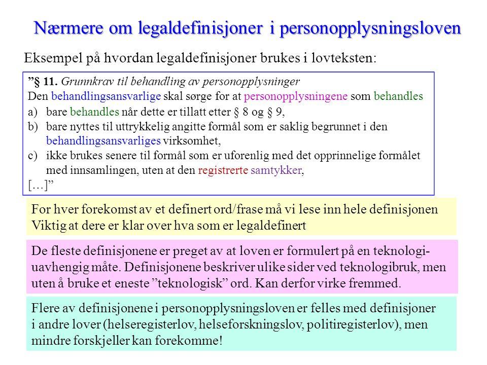 Nærmere om legaldefinisjoner i personopplysningsloven Eksempel på hvordan legaldefinisjoner brukes i lovteksten: § 11.