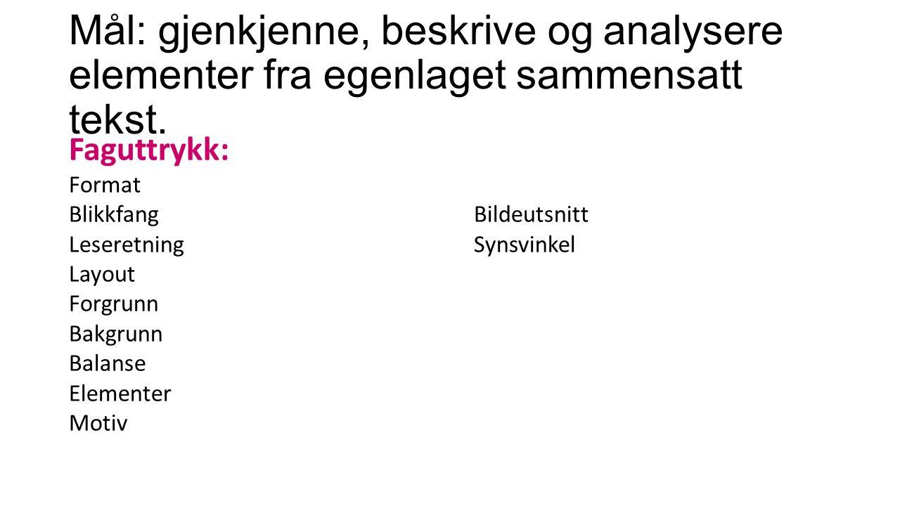 Mål: gjenkjenne, beskrive og analysere elementer fra egenlaget sammensatt tekst.