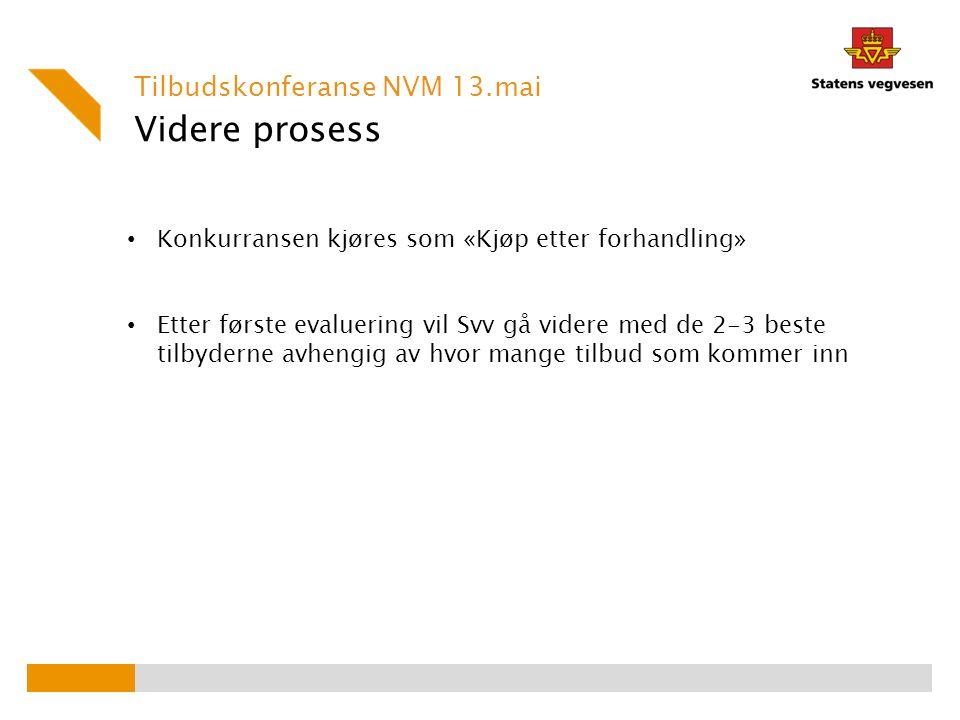 Videre prosess Tilbudskonferanse NVM 13.mai Konkurransen kjøres som «Kjøp etter forhandling» Etter første evaluering vil Svv gå videre med de 2-3 beste tilbyderne avhengig av hvor mange tilbud som kommer inn