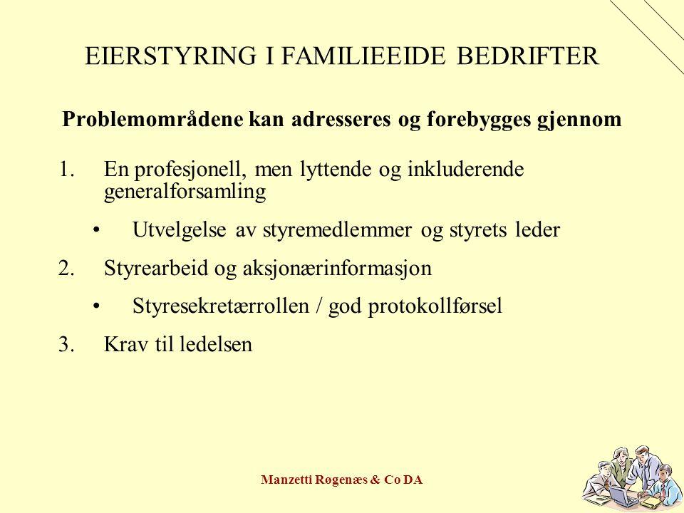 Manzetti Røgenæs & Co DA EIERSTYRING I FAMILIEEIDE BEDRIFTER Problemområdene kan adresseres og forebygges gjennom 1.En profesjonell, men lyttende og i