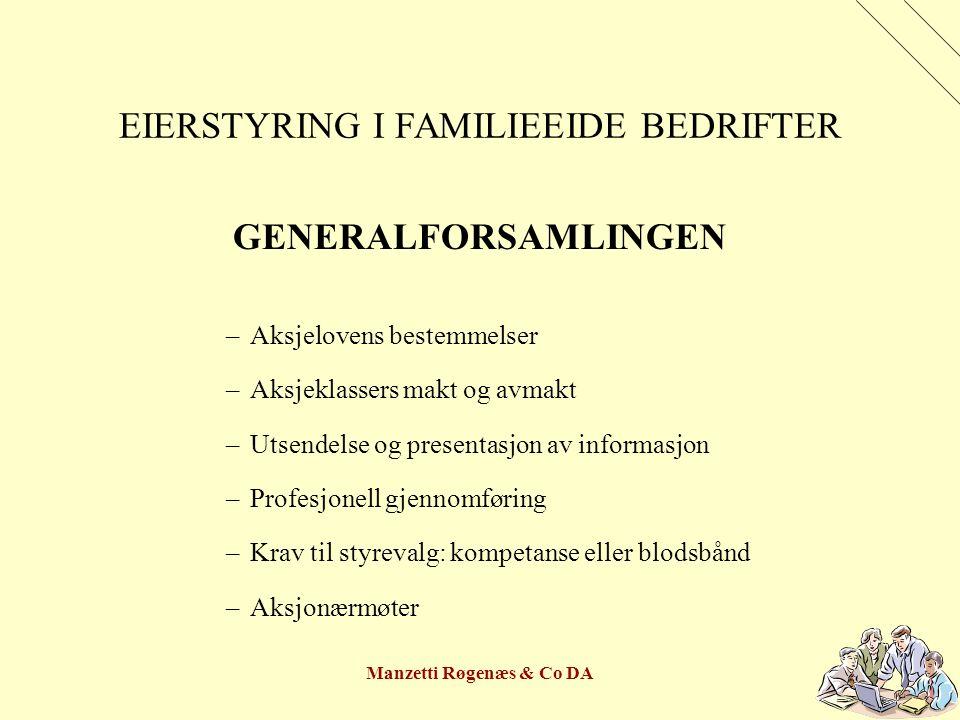 Manzetti Røgenæs & Co DA EIERSTYRING I FAMILIEEIDE BEDRIFTER GENERALFORSAMLINGEN –Aksjelovens bestemmelser –Aksjeklassers makt og avmakt –Utsendelse o