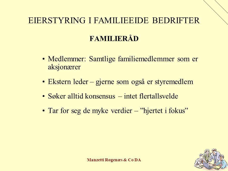 Manzetti Røgenæs & Co DA EIERSTYRING I FAMILIEEIDE BEDRIFTER FAMILIERÅD Medlemmer: Samtlige familiemedlemmer som er aksjonærer Ekstern leder – gjerne