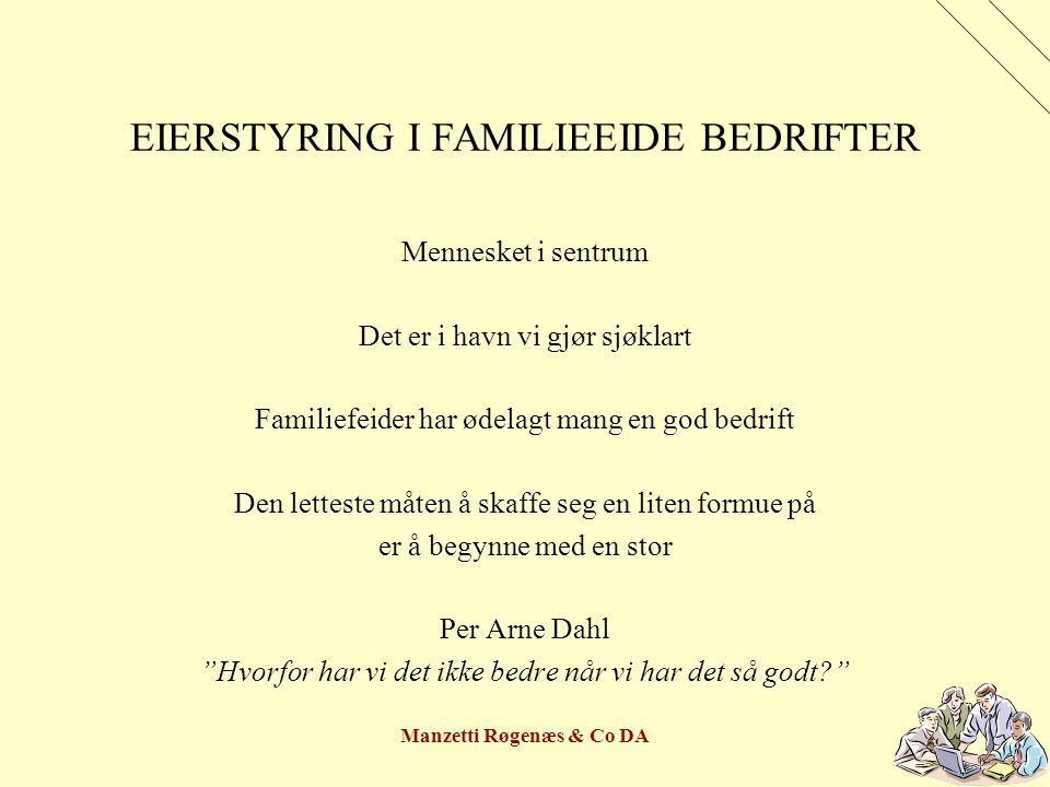 Manzetti Røgenæs & Co DA EIERSTYRING I FAMILIEEIDE BEDRIFTER GENERASJONSSKIFTE Definere motiv – sikre eller kontrollere etterkommerne økonomisk Eller: Skape dynasti Med eie og driveplikt.