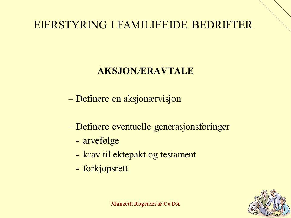 Manzetti Røgenæs & Co DA EIERSTYRING I FAMILIEEIDE BEDRIFTER AKSJONÆRAVTALE –Definere en aksjonærvisjon –Definere eventuelle generasjonsføringer -arvefølge -krav til ektepakt og testament -forkjøpsrett