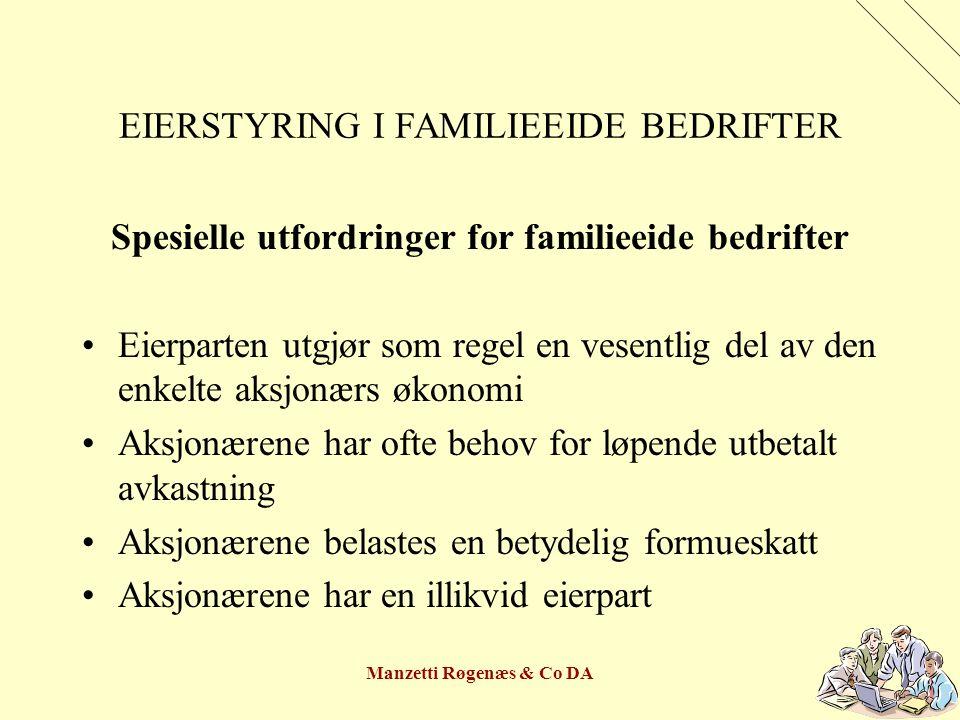 Manzetti Røgenæs & Co DA EIERSTYRING I FAMILIEEIDE BEDRIFTER FAMILIERÅD Medlemmer: Samtlige familiemedlemmer som er aksjonærer Ekstern leder – gjerne som også er styremedlem Søker alltid konsensus – intet flertallsvelde Tar for seg de myke verdier – hjertet i fokus