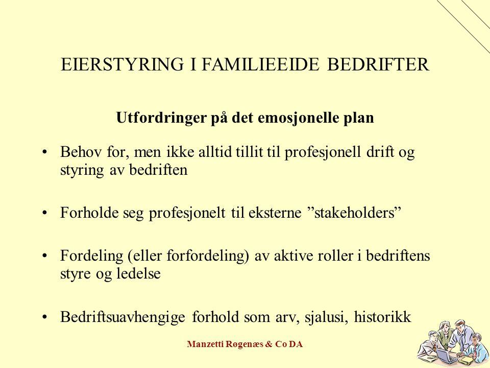 Manzetti Røgenæs & Co DA EIERSTYRING I FAMILIEEIDE BEDRIFTER Aksjonærene kan ha sammenfallende behov, dog ikke alltid parallelle prioriteringer »Økonomisk trygghet »Komfort »Forutsigbarhet »Gode familierelasjoner