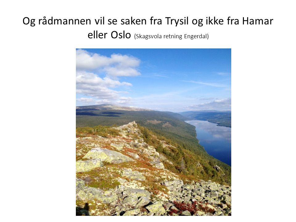 Og rådmannen vil se saken fra Trysil og ikke fra Hamar eller Oslo (Skagsvola retning Engerdal)