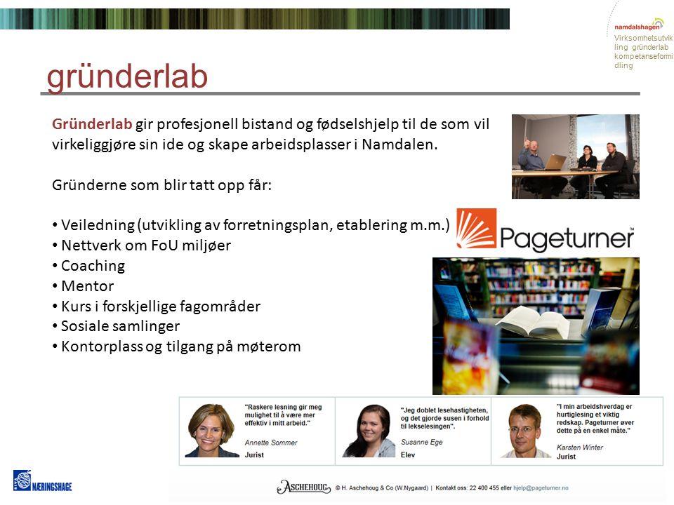 Virksomhetsutvik ling gründerlab kompetanseformi dling Gründerlab gir profesjonell bistand og fødselshjelp til de som vil virkeliggjøre sin ide og skape arbeidsplasser i Namdalen.