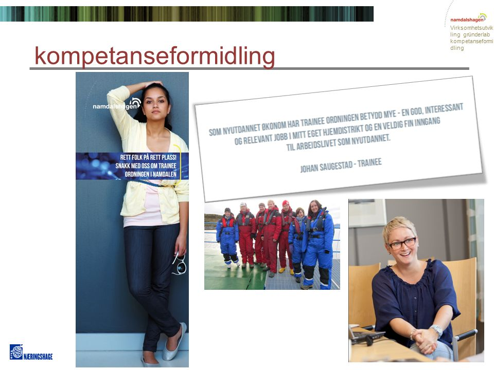 Virksomhetsutvik ling gründerlab kompetanseformi dling kompetanseformidling Mennesker for fremtiden Behovet for økt kompetanse i eksisterende næringsliv i Namdalen.