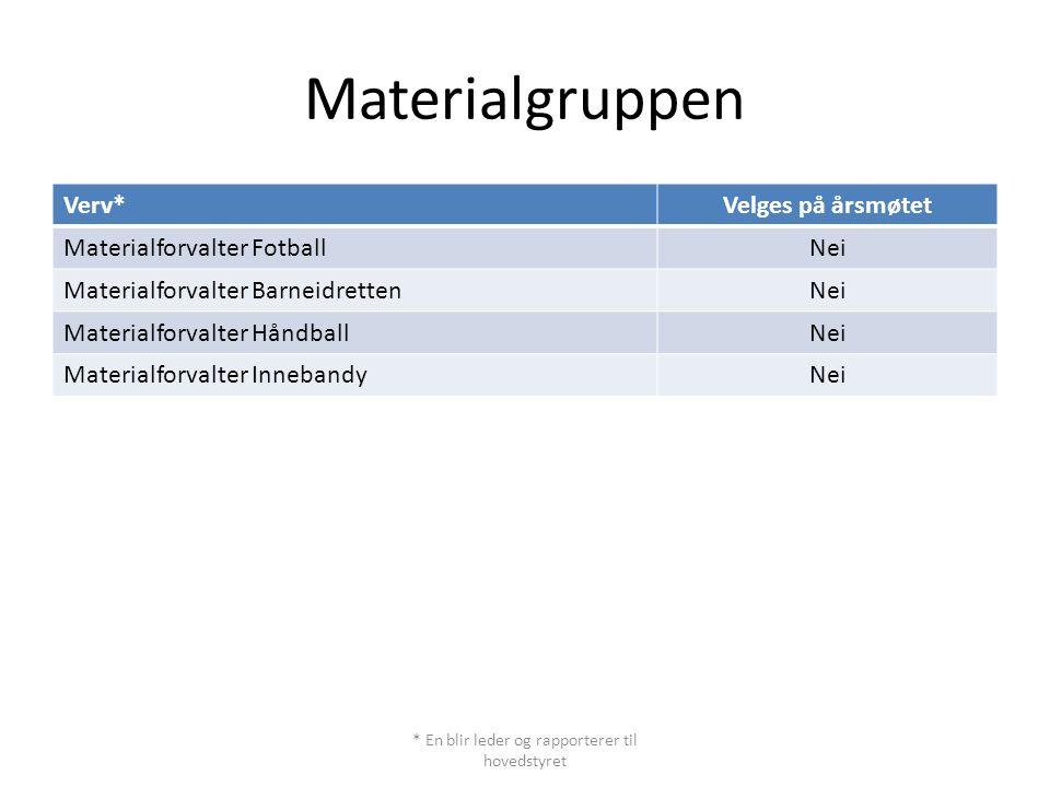 Materialgruppen Verv*Velges på årsmøtet Materialforvalter FotballNei Materialforvalter BarneidrettenNei Materialforvalter HåndballNei Materialforvalte