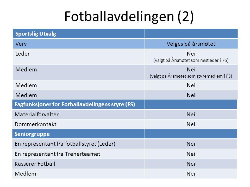 Fotballavdelingen (2) Sportslig Utvalg VervVelges på årsmøtet LederNei (valgt på Årsmøtet som nestleder i FS) MedlemNei (valgt på Årsmøtet som styreme