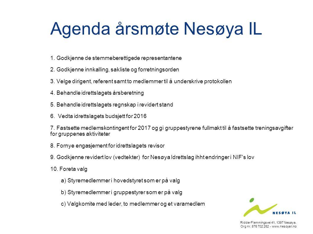 Agenda årsmøte Nesøya IL 1. Godkjenne de stemmeberettigede representantene 2. Godkjenne innkalling, sakliste og forretningsorden 3. Velge dirigent, re