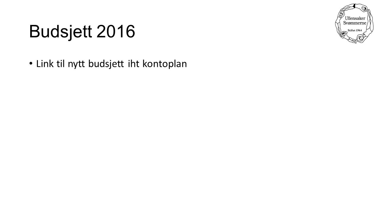 Budsjett 2016 Link til nytt budsjett iht kontoplan